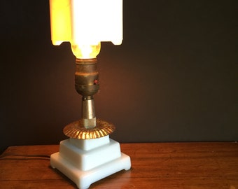 Milk Glass Table Lamp with Milk Glass Shade