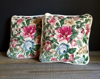Pair of Floral Needlepoint Pillows