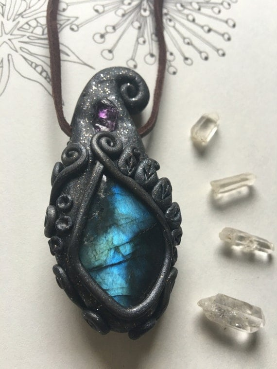 Crystal Pendant Labradorite Amethyst Crystal Clay Jewelry Magic Fall Fashion Woodland Witch Accessories Witchy Jewelry