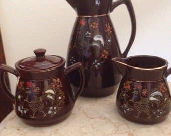 Vintage Brown Rooster Pitcher with Cream and Sugar Bowl, Japan
