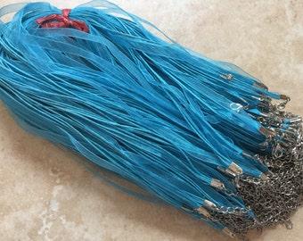 10 pcs Sky Blue Organza Ribbon Waxed Cotton Cord Necklace,sky blue waxed cord necklace,sky blue waxed cord,sky blue ribbon necklace,cords