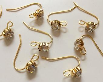 10 pcs Gold Plated Rhinestone Ear hooks,gold plated earwire,earring hook,golden ear hooks,rhinestone ear hook,brass ear hook,earring setting