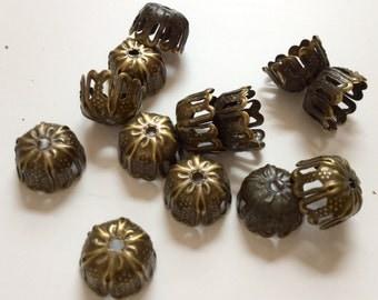 Nickel Free..100 pcs 9 mm Antique Bronze Bead Caps,9 mm bead cap,iron bead cap,bead spacer,antique bronze findings,brass bead cap