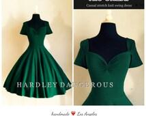 Forest Green CHERI Rockabilly 1950s Style Stretch Knit Swing Dress, ST. PATRICKS Day Retro Short Sleeved Swing dress
