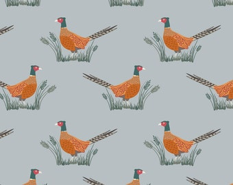 Lewis & Irene Patchwork Quilting Fabric Country Life - A91-1 Friendly Pheasant on country blue