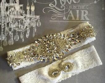 Rhinestone and Lace Garter Set - Bridal Wedding Garters