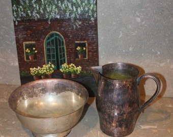 Paul Revere Reproductions Silver Plated Bowl and Pitcher