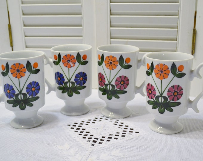 Vintage Pedestal Mug Set of 4  Flower Power Japan Blue Orange Pink Daisy PanchosPorch