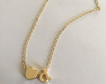 Love d initial necklace