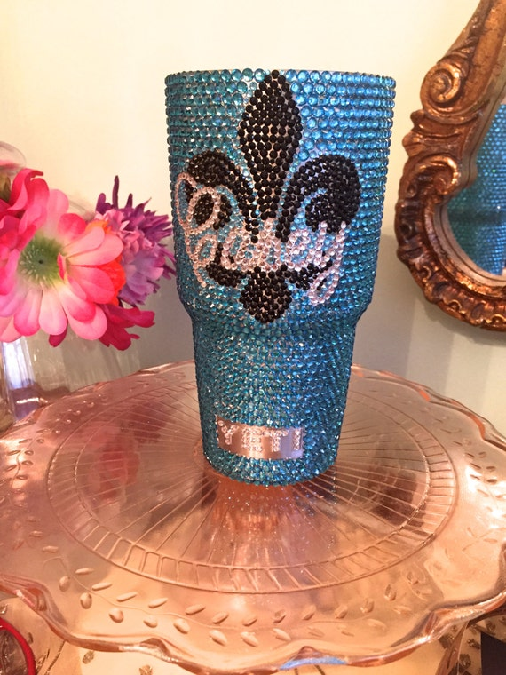 Rhinestone Yeti Rambler 30 oz with Fleur de lis and Name/Monogram