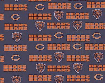 Chicago Bears fabric NFL National Football League navy orange bear heads C logo 100% Cotton Sewing Quilting 1 yard