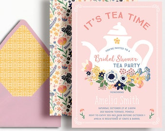Bridal Shower Tea Party Invitation Bridal Tea Wedding Shower Floral Flowers Pink Peach Yellow Tea Pot Tea Time Invite Teapot Printable
