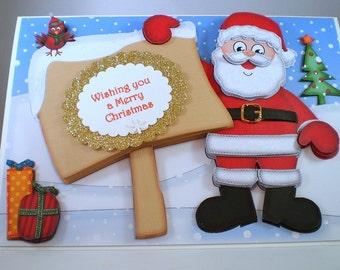Handmade Santa Claus Christmas Card,Decoupage,3D,Personalise,