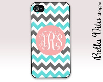 Monogrammed iPhone 4 Case -  Chevron iPhone 4 Case with Grey and Turquoise Chevron with Pink Monogram  - Cute iPhone 4s Case I4C
