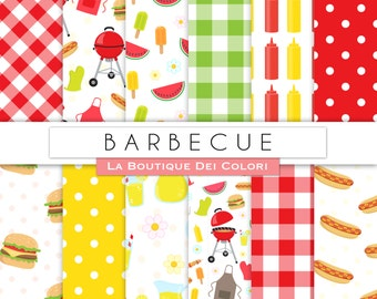 BBQ digital paper. Cute digital paper Summer Barbeque, Father's day hamburgers hot dogs backgrounds patterns for commercial use clipart