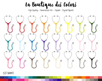 50 Rainbow Stethoscope Clip art, Colorful Digital Graphics PNG, Hospital appointment Doctor Clipart, Planner Stickers Commercial Use