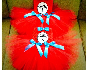 Dr. Seuss inspired Thing 1/Thing 2 tutu dresses