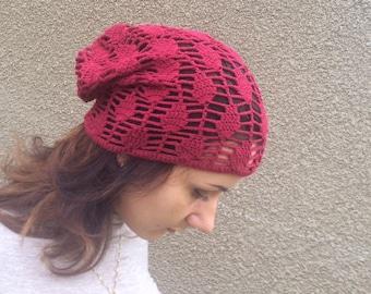women summer cotton  hat Crocheted Summer Hat,  raspberry red hat, Hand Crocheted Hat Womens Hat slouchy hat sun hat, woman hat