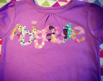 Custom Disney Character Shirt, Princess, Princess birthday, Princess party, Princess shirt, Disney Princesses,