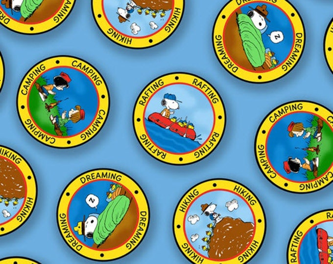 One Yard Camp Peanuts - Camping Badges in Blue - Charlie Brown Cotton Quilt Fabric - Quilting Treasures - 22612-B (W3154)