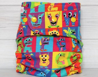 Alphabet Monsters - One Size AI2 Cloth Diaper