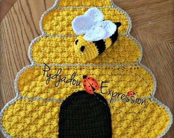 Honey Bee Lovey, Snuggle Buddy, Blanket, Beehive, Bee, Crochet Pattern in PDF-04