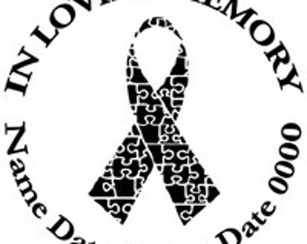 In Loving Memory Round Memorial Puzzle Ribbon Autism Prevention Vinyl Decal Sticker