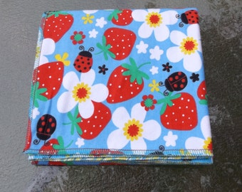 Strawberries and Ladybugs Flannel Receiving or Swaddling Blanket, Double Layer, 2 Layer Serged Blanket, Crib or Stroller Blanket