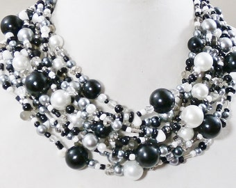 Black and White necklace, pearl,crystal, mega statement, multistrand, super chunky, beaded, handmade by Casual Bling
