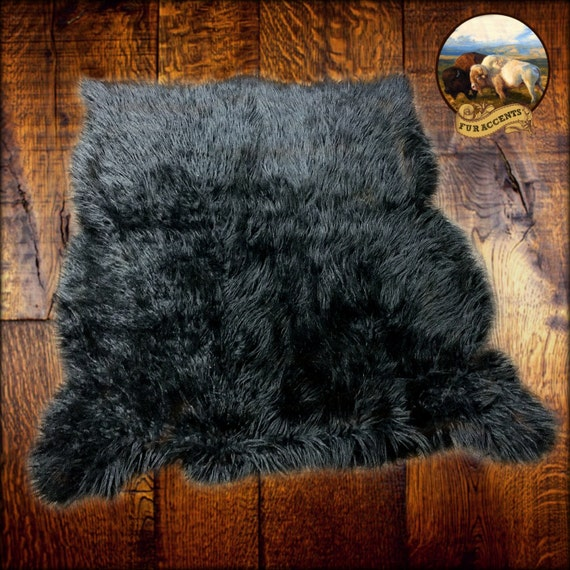 black faux fur rug shaggy faux fur area throw rug black shag mongolian 4669