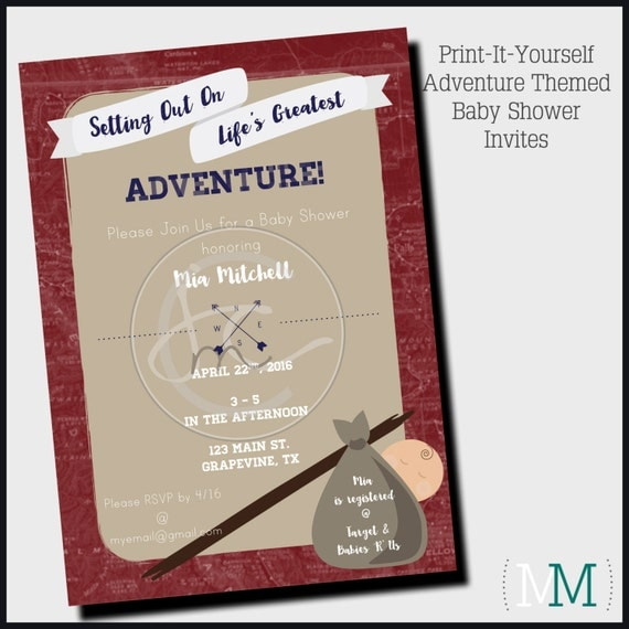 adventure themed baby shower invitation printable customizable life