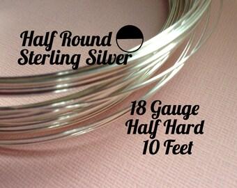 15% Off Sale! Sterling Silver Wire, HALF ROUND 18 Gauge, Half Hard, 10 feet, WHOLESALE