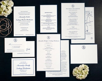 Letterpress Wedding Invitation Suite | Monogram Wedding Invitation Suite | Modern Wedding Invitation Suite | Classic Wedding Invitation