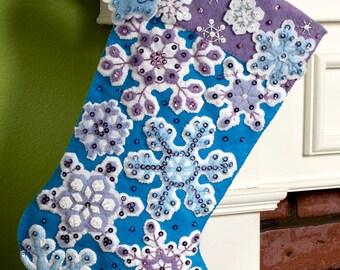 """Bucilla Snowflake ~ 18"""" Felt Christmas Stocking Kit #86184 Blue & White, Snow DIY"""
