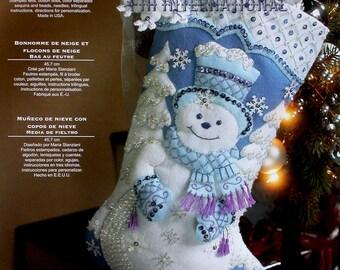"Bucilla Snowflake Snowman~ 18"" Felt Christmas Stocking Kit #86059 Blue & White DIY"
