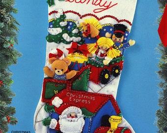 "Bucilla Christmas Express ~ 18"" Felt Christmas Stocking Kit #83113, Santa, Train DIY"