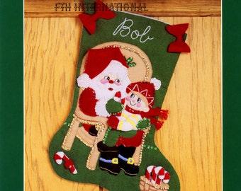 "DIY Bucilla All I Want For Christmas ~ 15"" Felt Stocking Kit #33095 Santa Boy, Child"