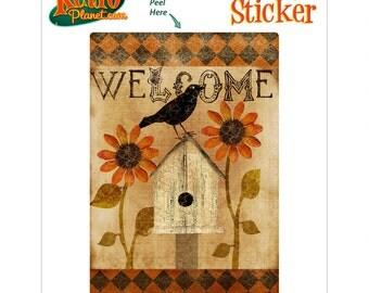 Welcome Fall Birdhouse Vinyl Sticker - #70953