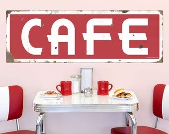 Cafe Deco White on Red Wall Decal - #72499
