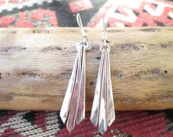 Taxco Sterling Chevron Dangle Earrings