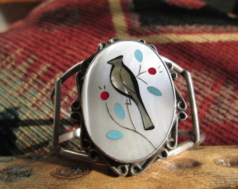 Multi-Stone Cedar Waxwing Inlay and Sterling Silver Bracelet