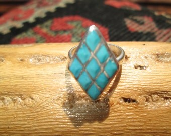 Turquoise and Sterling Silver Inlay Ring Size 5