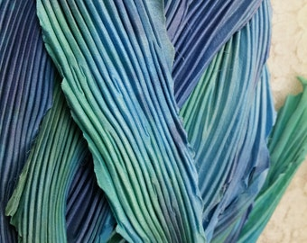 """Hand dyed silk arashi shibori ribbon 18"""" x 4"""" baby blue aquas great adirondack"""
