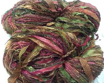 Art Yarn hand tied multifibers and ribbons, hand dyed 150 yds paprika knitting, scarf