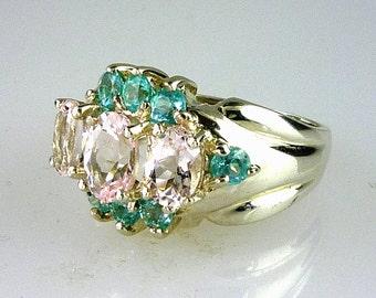Natural Pink Morganite Beryl Ring W/ Genuine Round Apatite 925 Sterling Silver