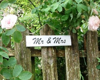 Vintage style wooden painted MR & MRS sign for wedding or home