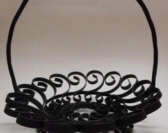 Handmade Black Metal Candy Dish Basket Scrolls