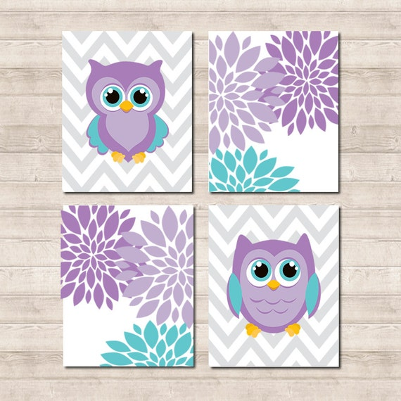Items similar to owl nursery wall art owl nursery decor baby girl nursery art baby girl decor - Girl owl decor ...