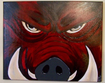 Original Razorback Acrylic Painting - Mad Hog 16 x 20