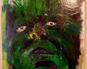 Incredible Hulk Original Acrylic Painting 16 x 20